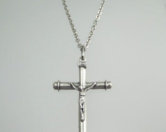 Simple Bar Crucifix Necklace