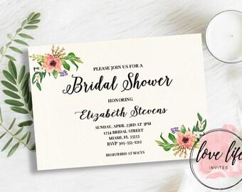 Watercolor Bridal Shower Invitation | Rustic Watercolor Invitation | Floral Bridal Shower Invitation | Boho Bridal Shower Invitation
