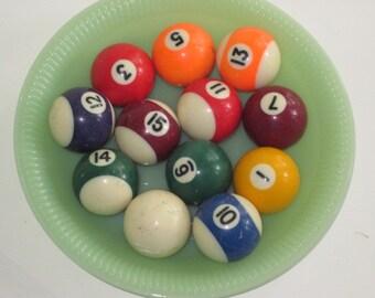 Lot 12 Vintage Toy Child's Size Billiard Pool Balls