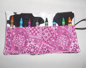 Cow print bandana crayon roll up 8 count