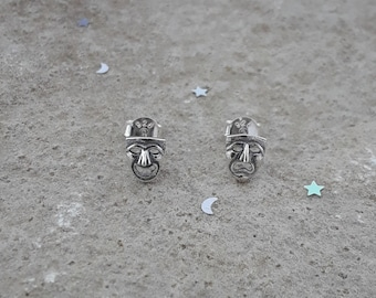 Comedy and Tragedy Earrings, Solid Sterling Silver Stud Earrings, Theatrical Masks Earrings, Drama Jewelry