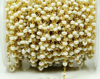 One Foot Beautiful Pearl, 4mm 24k Gold Plated  wire wrapped Rosary Chain by foot. (GPPR -30003)