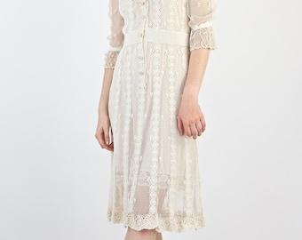 Beautiful Vintage 1970's Victorian Inspired Cream Cotton and Net Delicate Crochet Tea Dress