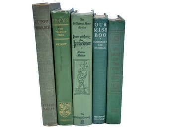 Decorative Books. Old Green Books. Antique Book Collection. Book Decor. Stack of Books. Book Stack. Old Book Bundle. Library Decor.Old Books