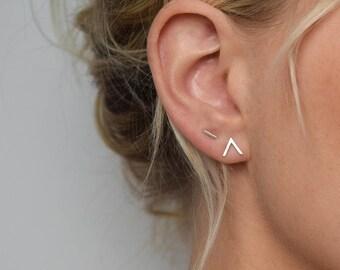 Chevron Stud Earrings - V Earrings - Small Stud Earrings - Minimalist Earrings - Geometric Stud Earrings