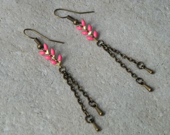 Earrings chains enamel ears 4 fuchsia