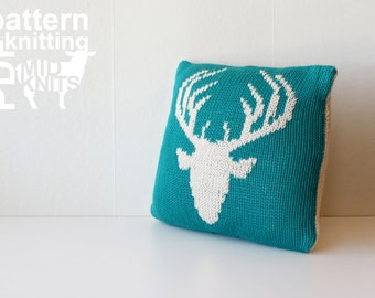 "DIY Knitting PATTERN - Stag Head Stockinette Throw Pillow - 12"" Square (2016011)"