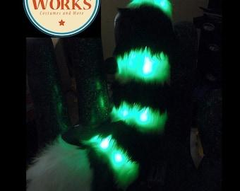 SALE: Curled Stripped LED Tail--lemur Tail, Fursuit, Red Panda Tail, custom tail, furry, Fursuit Tail, Fox Tail