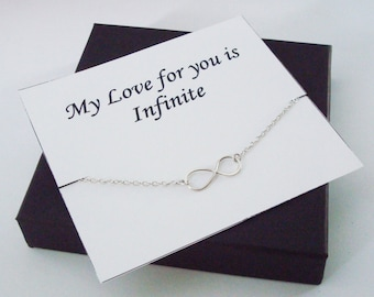 Infinity Sterling Silver Bracelet ~~Personalized Jewelry Gift Card for Best Friend, Sister, Mom, Step Mom, Cousin, Step Sister, Bridal Party