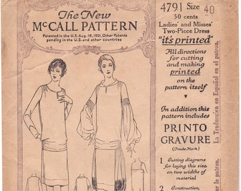 RARE 1920s McCall 4791 Plus Size Camisole, Skirt and Blouse Vintage 20s Sewing Pattern, Size 40, Bust 40, Complete