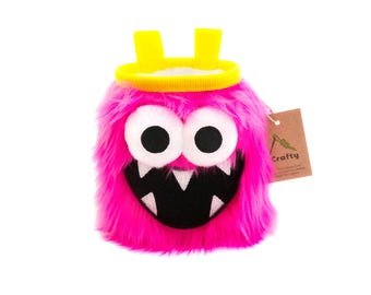 Pink Five Toothed Monster Chalk Bag