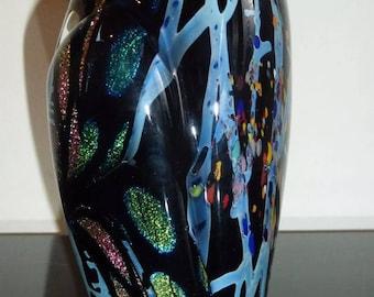 ROLLIN KARG Signed Dichroic Art Glass Sculpture Paperweight