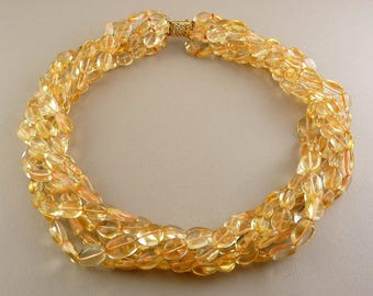 Golden Citrine Beads 6-Strand Torsade Necklace with 14K Gold Filigree Clasp