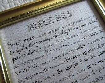 Bible Be's Framed Scripture Memory Verses Christian Home Decor Gold and Black Framed Scripture