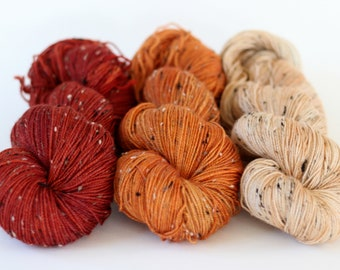 Tweed Gradient set, SW merino set of three skeins, Persimmon, 'Tweedy Sock'