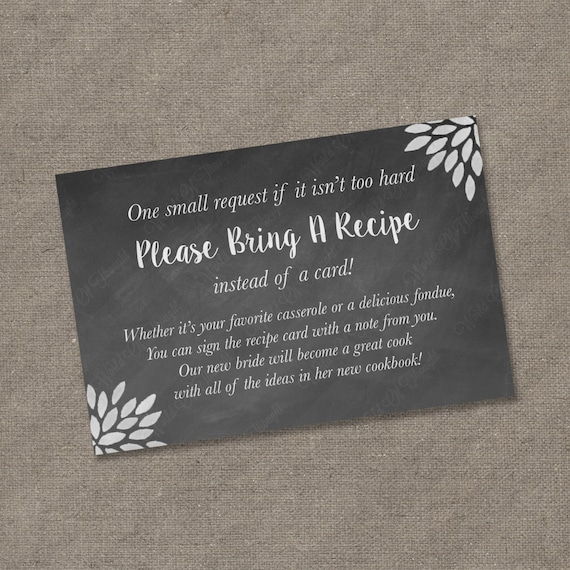 please bring a recipe instead of a card insert for bridal