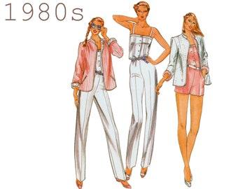 "Vintage Jumpsuit and Reversible Jacket Pattern Womens Playsuit Short Jumpsuit Womens Romper BUTTERICK 3705 bust 34"" 1980s Jacket Pattern"