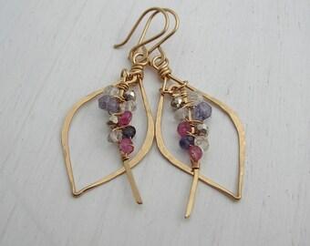 Multi Gemstone Tusk Earrings- Beaded Earrings- Leaf Hoops- Chandelier Earrings- Boho Earrings- Sterling Silver- 14k Gold Filled
