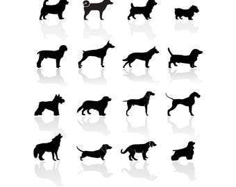 Black Symbols Dogs Svg/Eps/Png/Jpg/Cliparts,Printable, Silhouette and Cricut File !!!