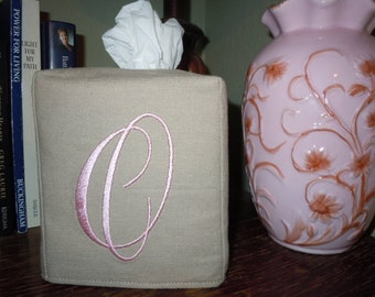 "Tissue Box Cover -  Made To Order - Monogrammed Linen Tissue Cover Special ""O"" Lettering"