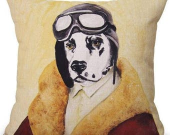 Handsome Pilot Dog Novelty 17'' Pillow Cover W/ Insert