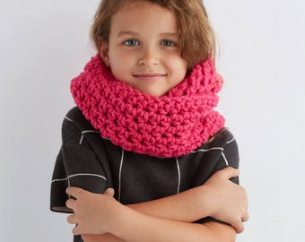 Girl's Crocheted Hot Pink Everyday Circle Scarf