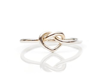 Love Knot Ring, Promise Ring, Tie the Knot, Sterling Silver, Bridesmaid rings, Friendship Ring, Knot Ring, Heart Ring