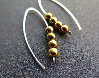 yellow gold and silver earrings. mixed metal jewelry. sterling silver earings.