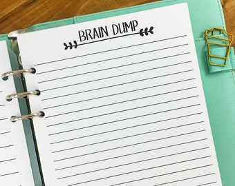 A5 Brain Dump printed planner insert refill - lined paper - note taking