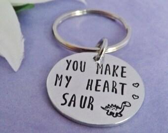 Wife Gift - Boyfriend Gift - Dinosaur Keyring - Keychain - Husband Gift - Girlfriend Gift - Personalised Keyring - Gift for Men - Hand Stamp