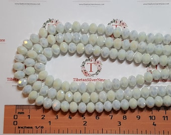 1 strand of 16 inches of 8x6mm Faceted Rondelle Opaque Half AB White color Chinese Crystal
