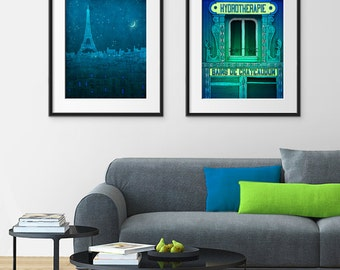 Any TWO Prints - Save 20%,Set of two Illustrations,Fine art Giclee prints Home decor Wall art Living room decor Gift ideas for her,Paris art