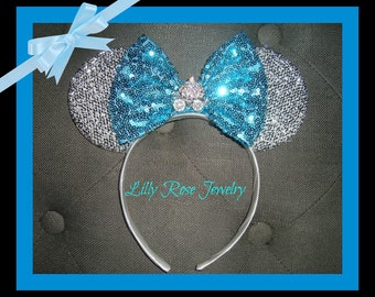 Sparkly Silver Cinderella Carriage Minnie Mouse Ears Inspired with Blue Sequin Bow Fits Adults and Children Ready to Ship Sparkle Ears