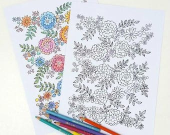 Flower Garland adult coloring book page, DIY printable, Hand Drawn Illustration, Instant Download, Adult Coloring Sheet, Art Therapy