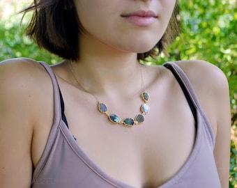 Labradorite Raw Slice Necklace, Gold Labradorite Necklace, Labradorite Necklace, Stone Slice Necklace