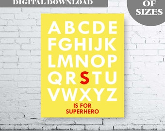 Red and Yellow alphabet Superhero Wall Art Print - Digital Download - Alphabet Printable. S is for Superhero Print.  Boys Bedroom Art.