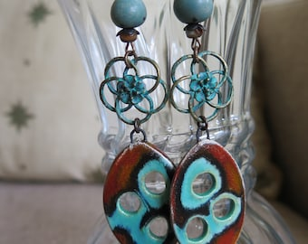 turquoise earrings, boho earrings, rustic earrings, turquoise and brown earrings, southwestern earrings, unique earrings, long earrings