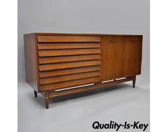 "American of Martinsville Louvered Walnut Dresser Credenza Mid Century Modern 60"""
