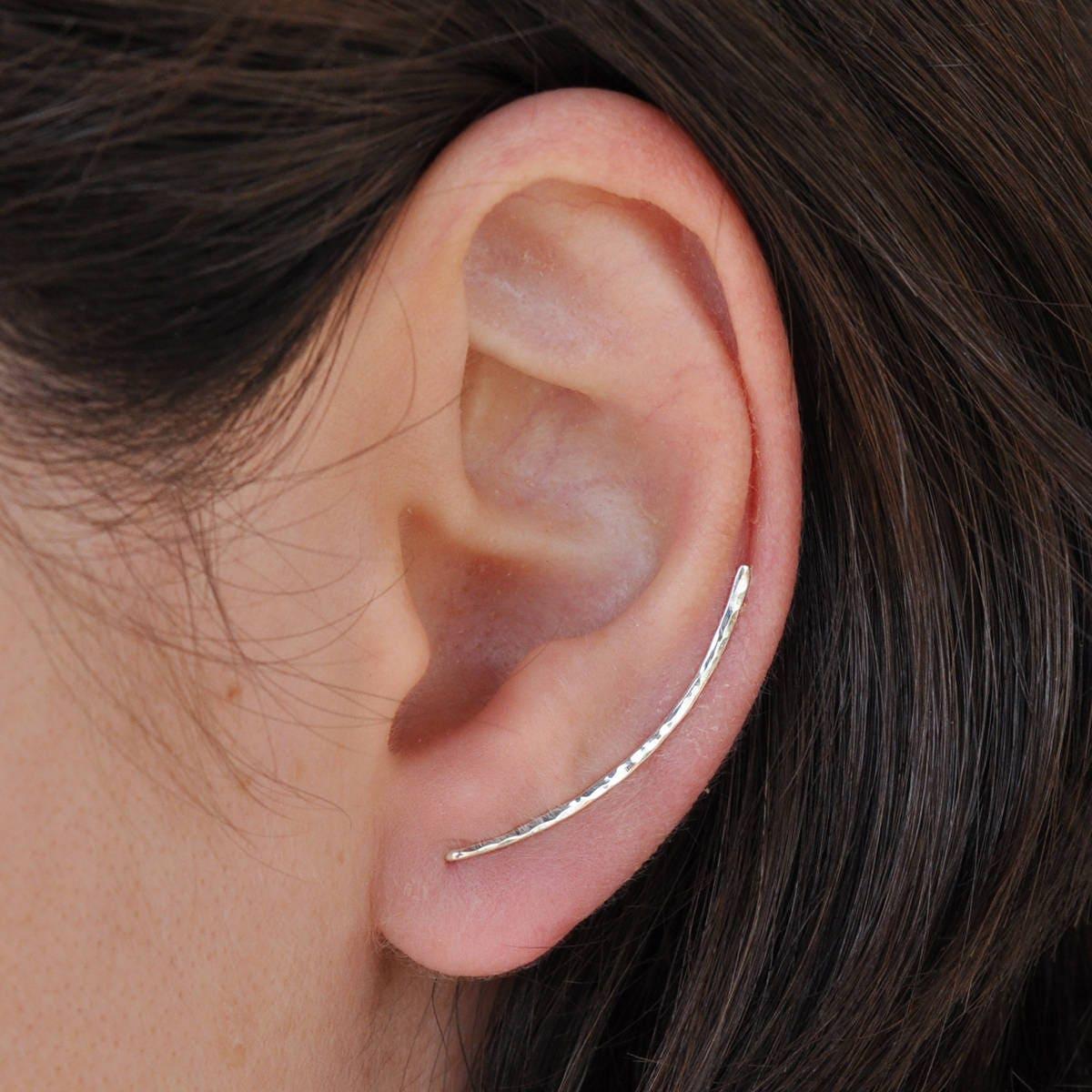 Geschwungene Bar Pin Ohrringe Sterling Silber Ohr Manschette