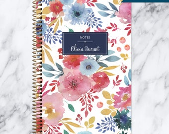 NOTEBOOK personalized journal | lined notebook | personalized gift | stocking stuffer | spiral bound | blue pink white watercolor floral