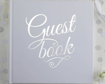 White & Silver Foiled Wedding Guestbook, Wedding Guest Book, White and Silver Party Guest Book, Baby Shower Guest Book