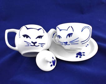 Chic cats  porcelain teapot and  tea cup and soucer , hand painted, porcelain & china