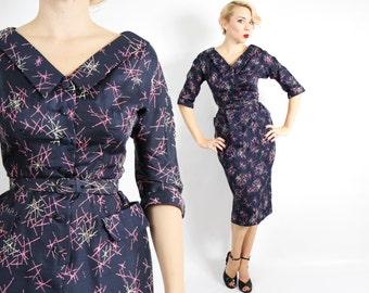 50s Atomic Dress | Navy Silk Print Wiggle Party Dress | Samuel Grover Original | Small