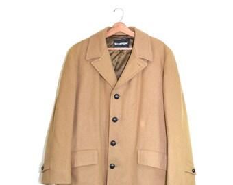 Vintage Men's Wool Coat Wool Jacket Camel Coat Camel Jacket Long Men's Jacket Size 46