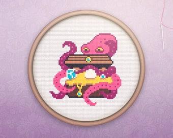 Geeky Cross Stitch • Modern Octopus Cross Stitch Pattern • Modern Animal Hoop Art • Easy Counted Cross Stitch PDF • Octopus XStitch Pattern