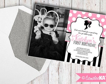 Classic Doll Birthday Invitation - Printable file - Pink, Black, & Silver Glitter - Personalized