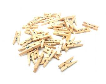 100 mini clothespins color wood 25mm