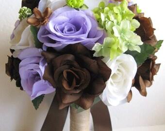 Wedding Bouquet flowers Bridal silk 17 piece Package PURPLE