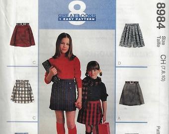 McCall's Patterns #8984 Girls Skort and Belt  Size  7-10   Uncut Factory Folded