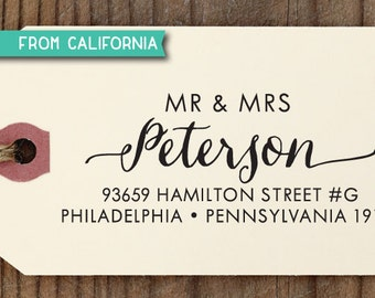 Mr & Mrs ADDRESS STAMP with proof from USA, Eco Friendly Self-Inking stamp, return address stamp, custom stamp, custom address stamp 210